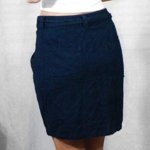 just living Skirts - ✨Navy Blue Linen Wrap Front Asymmetrical Skirt